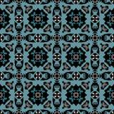 Abstrakt damast modell för blå gräsplan på en svart Royaltyfria Bilder
