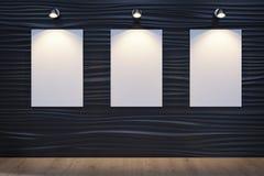 Abstrakt dekorativ vågvägg med vit kanfas arkivbild