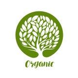 Abstrakt dekorativt träd med sidor Naturlig organisk etikett för ekologi, eller logo också vektor för coreldrawillustration royaltyfri illustrationer