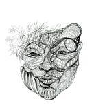abstrakt dekorująca twarzy kobieta Zdjęcia Royalty Free