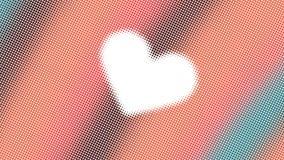 Abstrakt design, geometriska modeller, vit bakgrund, textur av orange och gröna små prickar, form av hjärta som är klar att smsa royaltyfria foton