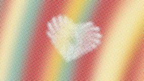 Abstrakt design, geometriska modeller, vit bakgrund, textur av röda gula gröna små prickar, form av hjärta som är klar att smsa arkivfoto
