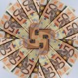abstrakt design med 50 euroräkningar, bakgrund och textur Royaltyfri Foto