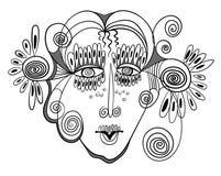 Abstrakt design med kvinnas framsida stock illustrationer