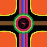 Abstrakt designbakgrund med kurvor och cirklar royaltyfri illustrationer