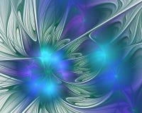 abstrakt designfractal Blommakronblad i blått Arkivfoto
