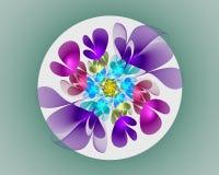 abstrakt designfractal Neonblomma i cirkel Arkivfoto