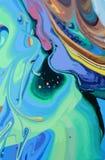 Abstrakt designkreativitetbakgrund av blåa och gröna vågor Arkivfoton