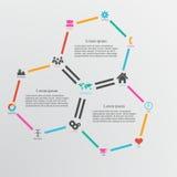 Abstrakt designmallbakgrund med sexhörningar och infographi Royaltyfria Bilder