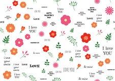 Abstrakt designvalentindag med förälskelsetext och blommor på bakgrund Hand dragit romantiskt berömteckenmeddelande Royaltyfria Foton