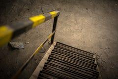 Abstrakt detalj av rostig trappa Arkivbild