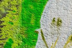 Abstrakt detalj av väggen med fragmentet av färgrika grafitti Stads- konstcloseup Begrepp av modern iconic stads- kultur Royaltyfria Foton
