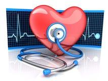 Abstrakt diagnostiskt hjärtasymbol och stetoskop vektor illustrationer
