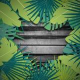 Abstrakt digital bakgrund med färgrik palmbladgrönska Fotografering för Bildbyråer