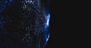 abstrakt digital blackground för våg 4K Glödande partiklar flödar rörelse Högteknologiskt ingrepp för futuristisk teknologi i ett stock video