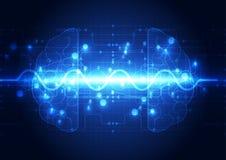 Abstrakt digital hjärna för elektrisk strömkrets, teknologibegrepp stock illustrationer