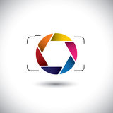 Abstrakt digital kamera för punkt & för fors med den färgrika slutaresymbolen Arkivfoton