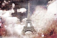 Abstrakt digital konst av Eiffeltorn i Paris gammalt papper Vykort hög upplösning som är tryckbar på kanfas stock illustrationer