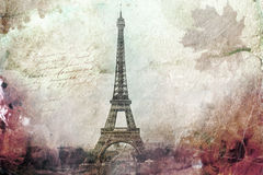 Abstrakt digital konst av Eiffeltorn i Paris, gräsplan gammalt papper Vykort hög upplösning som är tryckbar på kanfas stock illustrationer