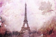 Abstrakt digital konst av Eiffeltorn i Paris, lila gammalt papper Vykort hög upplösning som är tryckbar på kanfas vektor illustrationer