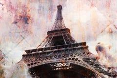 Abstrakt digital konst av Eiffeltorn i Paris, vykort för tegelplattatexturrost, hög upplösning som är tryckbar på kanfas vektor illustrationer