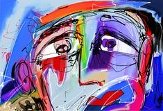 Abstrakt digital målning av den mänskliga framsidan Royaltyfria Bilder