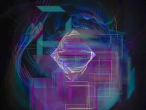 Abstrakt digital ram för kurva för vågfractalfärg, design för begrepp för mall för modell för texturmaktdesign futuristisk härlig royaltyfri illustrationer