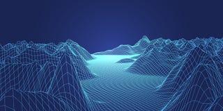 Abstrakt digitalt landskap Wireframe landskapbakgrund bifokal royaltyfri illustrationer