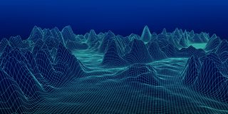 Abstrakt digitalt landskap Wireframe landskapbakgrund bifokal vektor illustrationer