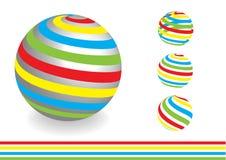 Abstrakt dimensionellt jordklot med färglinjer royaltyfri illustrationer