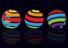 Abstrakt dimensionellt jordklot med färglinjer vektor illustrationer