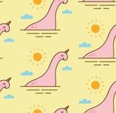 Abstrakt dinosaurie i en sömlös modell för sjö stock illustrationer