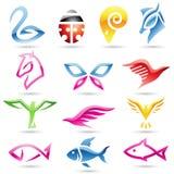 abstrakt djura färgrika symboler stock illustrationer