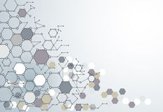 Abstrakt Dna-molekylstruktur med polygonen på ljus - grå färg Arkivfoto
