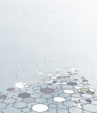Abstrakt Dna-molekylstruktur med polygonen på ljus - grå färgbakgrund Fotografering för Bildbyråer