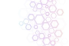 Abstrakt DNAforskning för medicinsk bakgrund, molekyl, genetik, genom, DNAkedja Genetiskt analyskonstbegrepp med royaltyfri illustrationer