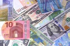 Abstrakt dollareuro- och schweizisk francbakgrund arkivbild