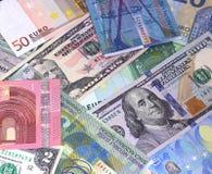 Abstrakt dollareuro- och schweizisk francbakgrund royaltyfri bild