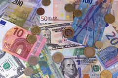Abstrakt dollareuroschweizisk franc och myntbakgrund royaltyfri bild