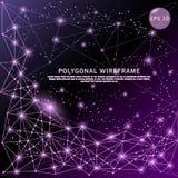 Abstrakt dragen futuristisk låg poly trådram för lilor digitalt vektor illustrationer