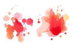 Abstrakt dragen röd droppe för vattenfärgaquarelle hand Arkivfoto