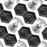 Abstrakt dragen sömlös modell för vektor 3d hand med svarta kuber Royaltyfri Fotografi