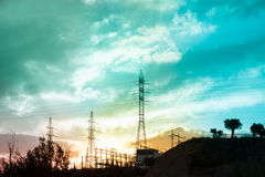 abstrakt elektricitetspylon Arkivfoto