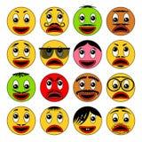 Abstrakt emoticonsymbolssamling Vektoremoji Vektor Illustrationer