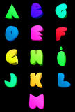 Abstrakt engelskt alfabet för vektor Komisk stil A M. Royaltyfria Foton