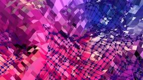 Abstrakt enkel blå röd låg poly yttersida 3D som fantasimiljö Mjuk geometrisk låg poly rörelsebakgrund med rent lager videofilmer