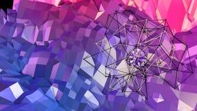 Abstrakt enkel blå röd låg poly yttersida 3D som geometriskt raster Mjuk geometrisk låg poly rörelsebakgrund med rena blått vektor illustrationer
