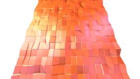 Abstrakt enkel rosa orange låg poly yttersida 3D som geometriskt raster Mjuk geometrisk låg poly rörelsebakgrund av växling royaltyfri illustrationer