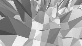 Abstrakt enkel svartvit låg poly vinkande yttersida 3D som futuristisk bakgrund Grå geometrisk vibrering lager videofilmer