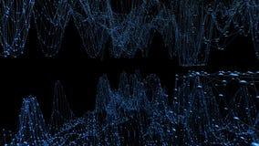 Abstrakt enkelt blått vinkande raster 3D eller ingrepp som den molekylära strukturen Blått geometriskt vibrerande miljö eller pul royaltyfri illustrationer